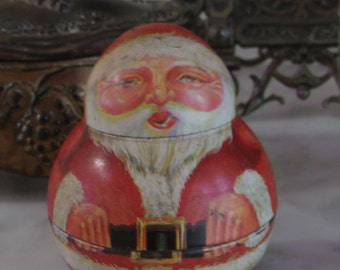 Vintage Miniature Roly Poly Christmas Santa Candy Container Hard to Find Size