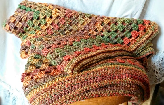 Large Afghan Crochet Granny Square Blanket Apx 71 By 63 Inches