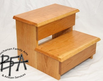 XL Adult Size Step Stool Cherry Solid hardwood WOOD - Kitchen Pantry Closet Bed Bathroom - Great for 2 KIDS too - Modern Simple & Classic!
