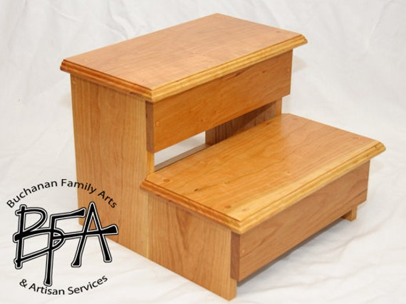 xl adult size step stool cherry solid by buchananfamilyarts. Black Bedroom Furniture Sets. Home Design Ideas