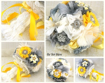 Brooch Bouquet, Ivory, Yellow, Silver, Gray, Grey, Pewter, Vintage Style, Elegant Wedding, Bridal, Feathers, Lace, Crystal, Brooches