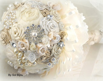 Brooch Bouquet, Tan, Beige, Champagne, Cream, Ivory, Gold, Vintage Wedding, Lace Bouquet, Gatsby, Bridal Bouquet, Jeweled, Crystals, Pearls