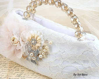 Purse, Handbag, Bag, Bridal, Wedding, Mother of the Bride, Ivory, Tan, Champagne, Lace, Crystals, Pearls, Brooch, Vintage Wedding