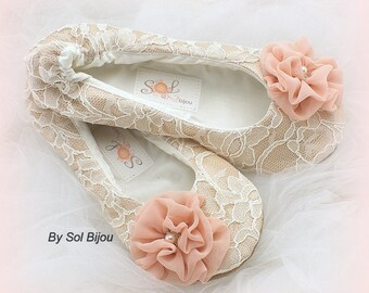 Ballet Flats, Blush, Champagne, Tan, Ivory, Vintage Wedding, Wedding Flats, Shoes, Ballet Slippers, Flower Girl, Ballerina Slippers, Pearls