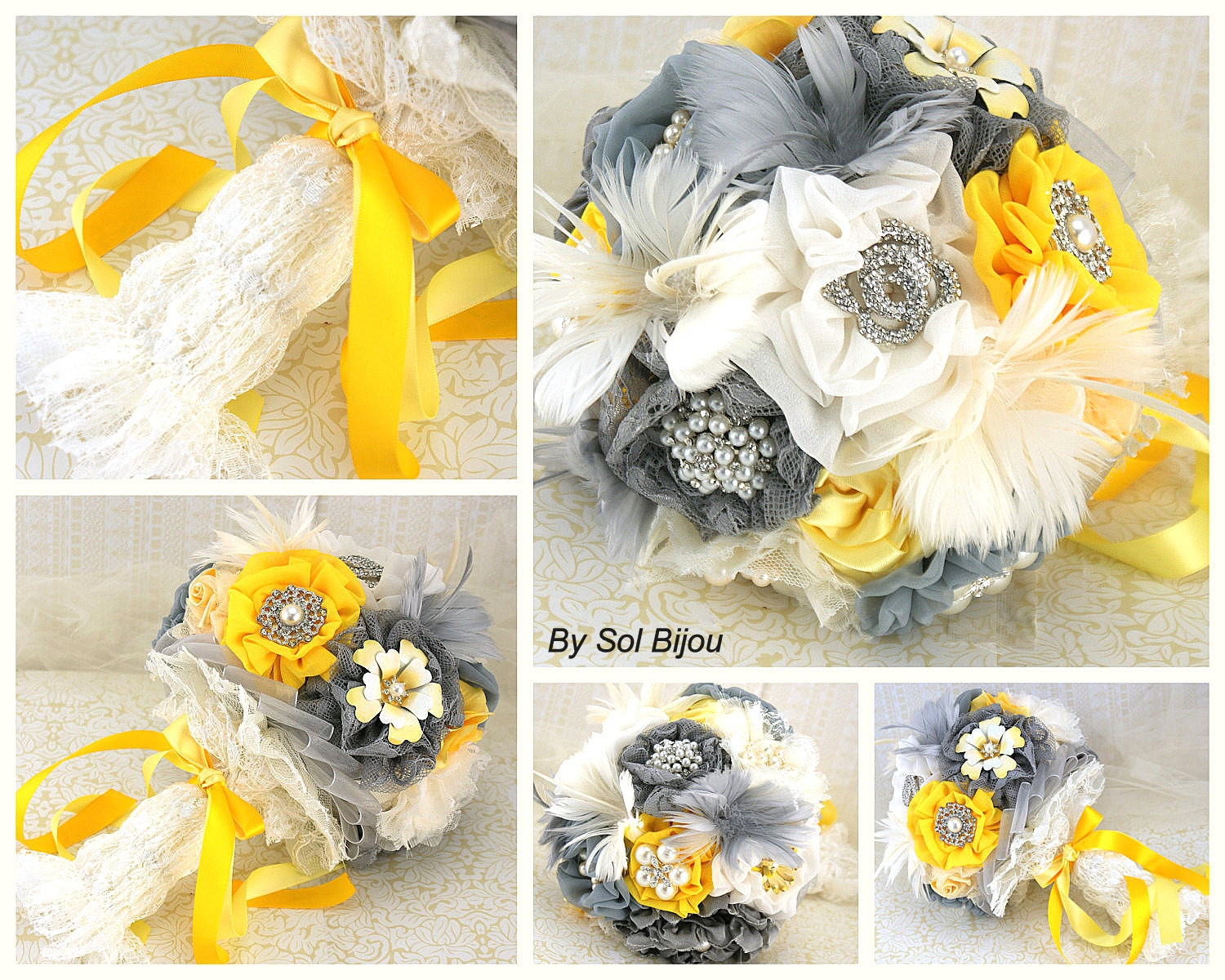 Brooch bouquet ivory yellow silver gray grey pewter zoom junglespirit Image collections