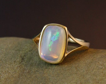 Gold Colourful Australian Opal Ring - Emerald Cut - Anniversary Gifts, Classic Opal Jewelry