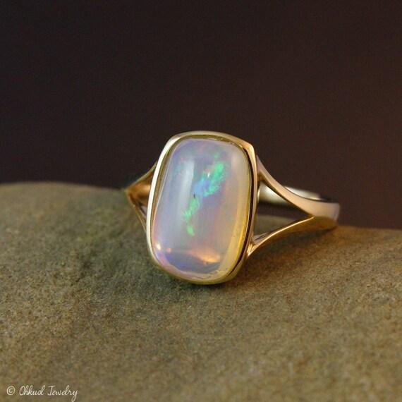 gold colourful australian opal ring emerald cut by ohkuol