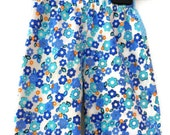Sale Half Price Pretty Blue and Yellow Girls Reversible Trousers Age 6-9 months