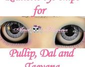 New Soft Resin OOAK REALISTIC custom Pullip, Dal, Taeyang eye chips set C17, by Ana Karina. UV laminated