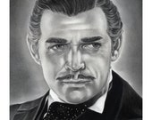 Original Artwork Clark Gable Gone with the Wind Drawing Charcoal Graphite Signed
