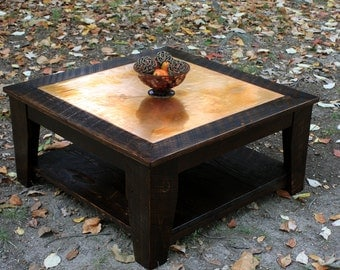 Copper Coffee Table with Shelf, 36 x 36 Square, Reclaimed Wood, Rustic Contemporary, Dark Brown Wax Finish - Handmade