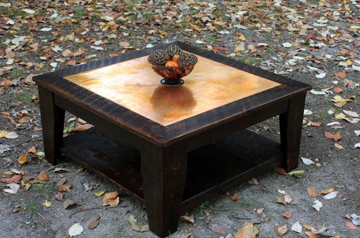 Copper coffee table with shelf 36 x 36 square reclaimed Coffee table with shelf