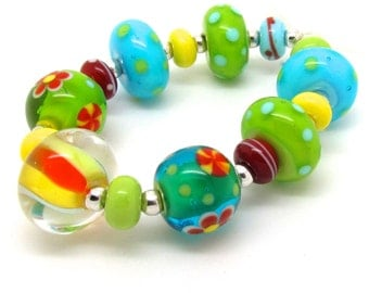 Bright Glass Beads,  Glass Lampwork Beads, Lampwork Bead Set, UK, SRA, FHFteam Yellow Green Blue