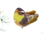 Warbler Bird  Ornament Beaded Clip-on Woodland Spring Decoration Mother's Day Gift *READY TO SHIP