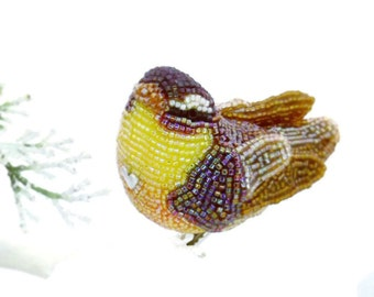 Warbler Bird Ornament Beaded Clip-on Woodland Fall Decoration *READY TO SHIP