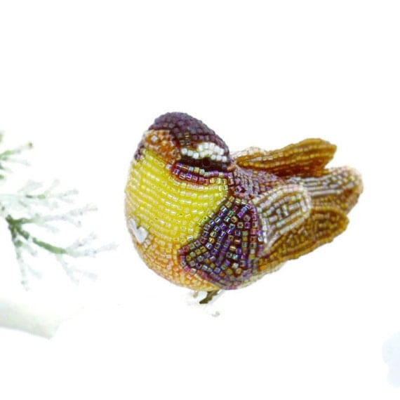 Warbler Bird Christmas Ornament Beaded Clip-on Woodland Fall Decoration *READY TO SHIP