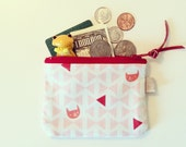 Coin Purse, Small Zipper Pouch with Pink Cat