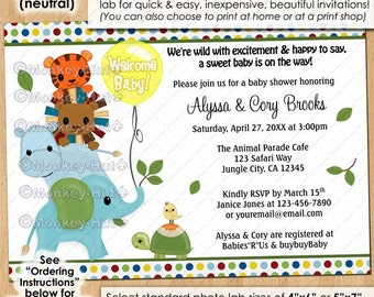 Animal Parade Baby Shower Invitations #2 / boy girl blue yellow green tiger lion hippo elephant turtle bird PERSONALIZED/ DIGITAL INVITATION