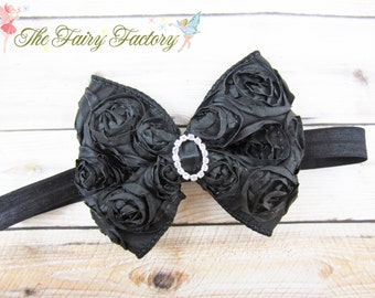 Black Hair Bow, Black Satin Rosette Hair Bow w/ Crystal Center Black Headband or Hair Clip, The Virginia, Baby Toddler Child Girls Headband