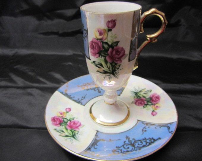 Lusterware Blue and White Rose Footed Cup and Saucer Made in Japan, China Tea Cup and Saucer Set, Tea or Coffee Serving Set, Victorian Tea