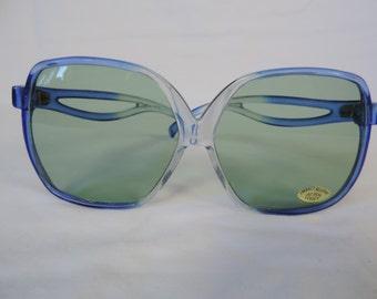 vintage oversized sunglasses 70s blue boho sunglasses retro eyewear new old stock