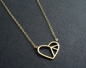 Gold Heart Necklace Peace In Your Heart Necklace In Gold or Silver Minimalist Necklace Layer Necklace Everyday Jewelry Contemporary Jewelry
