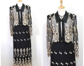 Vintage 60s Black Embroidered Lace 2 pieces set Suit Skirt and Blouse  Evening  Large