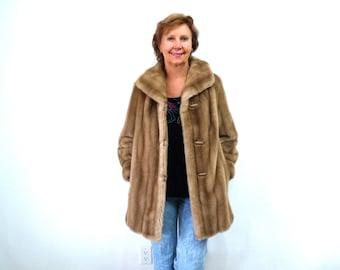Faux Mink Fur Coat Sandy brown Tissavel made in France Medium