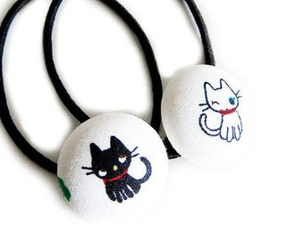 Button Ponytail Holders - Black and White Kitties - Button Hair Ties