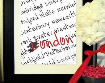 PRINTABLE PDF Instant Download London Word Art Print