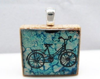 Bicycle -  Glowing metallic Scrabble tile pendant in your choice of colors