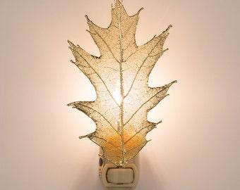 Real Oak Leaf Dipped In 24k Gold Night Light  - 24k Gold Leaves