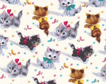 Michael Miller Fabric Retro Kitties, yards