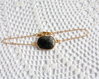 OOAK Tourmalated Quartz Bezel Set Stone Bracelet on Gold Vermeil Chain