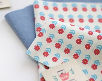 Pink Blue lovely Daily Flower  on Cotton, U216