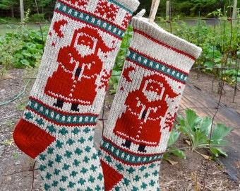 Downloadable SANTA Stocking Christmas Knitting Pattern Instant Download