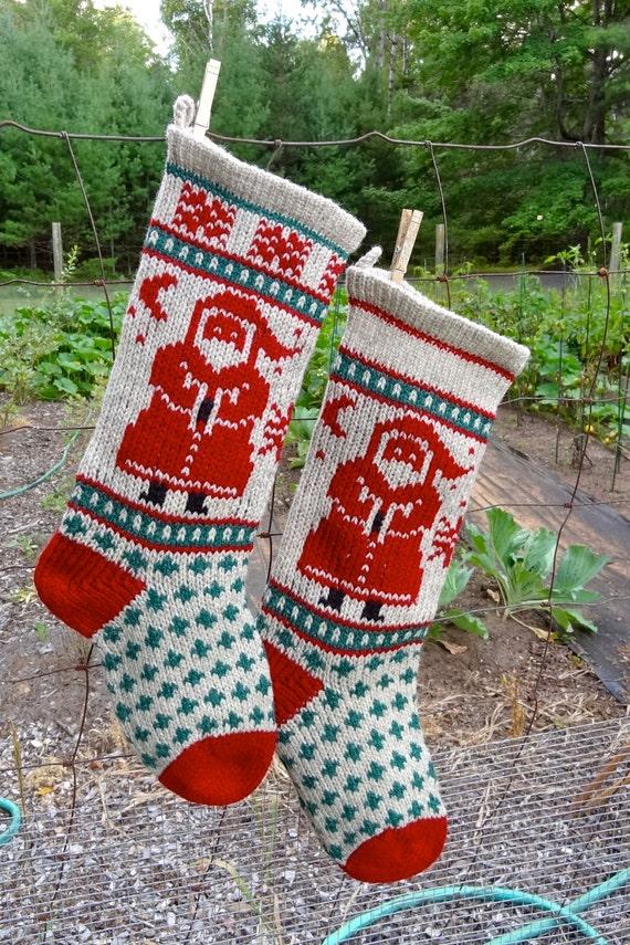 Downloadable SANTA Stocking Christmas Knitting Pattern Instant ...