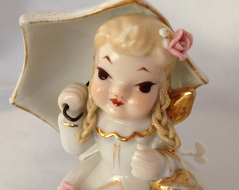 Vintage Lefton April Showers girl figurine
