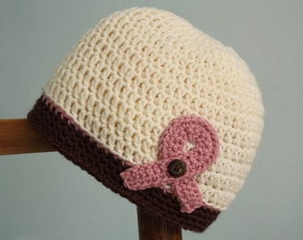 Breast Cancer Awareness Beanie, Chemo Cap, Crochet Beanie, Pink Awareness Ribbon, Women's Clothing, Accessories, Cancer Awareness Ribbon Hat