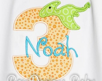 Pterodactyl Birthday Shirt, Dinosuar Birthday Number, Monogrammed, Boys Birthday Shirt, Shirt,Tank,Bodysuit,Romper,Gift