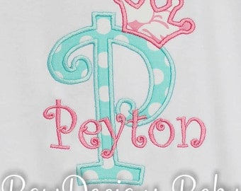 Initial Shirt, Princess Crown, Birthday Shirt, Monogrammed, Personalized, Girls Birthday Shirt, Long Sleeves,Short Sleeves