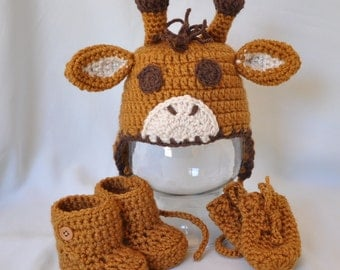 Giraffe Hat, Booties and Mittens, Animal Hat, Earflap Hat with Button Booties