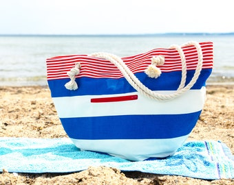 The Summer Beach Bag, Nautical Large tote bag, Carry all bag. Stripes in navy blue, white and red. Everyday purse. Strandtasche