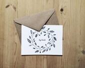 Big Thanks notecards (white) set of 4 w/envelopes. original botanical illustration. thank you. nature inspired. Gift set. Stationery