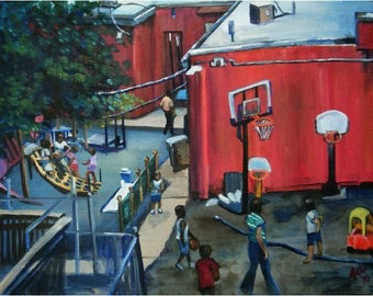 Urban Playground Original Oil Painting- 14x11 On Sale