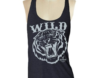 WILD TIGER Tank Top shirt - American printed apparel Tri-Blend Tank workout - 8 color options Available in sizes S, M, L skip n whistle