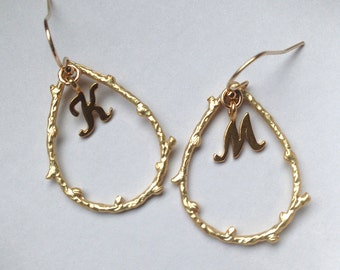 Initial Jewelry, Personalized Twig Earrings, Gold Initial Hoop Earrings, Custom Twig Jewelry, Initial Earrings, Birthday Gift Ideas For Her