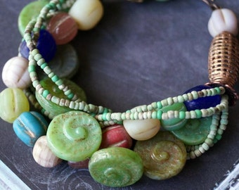 Ancient Shells Bracelet - Earthy Beach Bracelet - Chunky Sea Glass Bracelet - Tribal - Bead Soup Jewelry