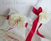 Wedding Ring Bearer Pillow and Flower Basket  Set Customizable Your Colors