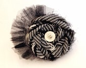 Beautiful and Funky, Black, White,and Silver Twisted Flower Hair Accessory Clip